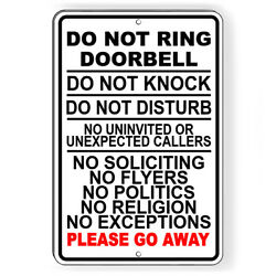 Do Not Ring Doorbell Knock Do Not Disturb No Soliciting Sign METAL 5 SIZES SI159
