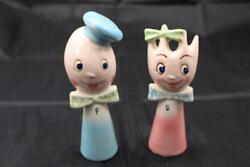 Vintage Salt and Pepper Shakers BLUE Spoon Fork His Hers He She Anthropomorphic