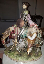 HUGE ITALIAN PORCELAIN FIGURAL GROUP OF DON QUIXOTE 22 INCHES!!
