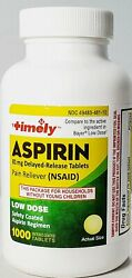Timely Low Dose Aspirin EC 81 mg 1000 Tablets Expiration 02 2024 $11.95