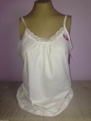 JMS Plus Size Womens Camisole White Lace Cotton Tank Cami Top 1X 2X 3X 4X NWT $8.99