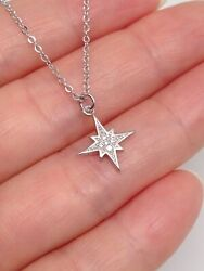 Sterling Silver 925 Cz Star Pendant Necklace North Star 11mm $16.80