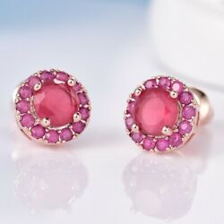 Delicate Red Ruby 18K Yellow Gold Filled Wedding Halo Stud Earrings Jewelry