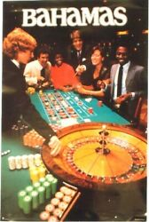 Original vintage poster BAHAMAS NIGHT LIFE GAMBLING 1982
