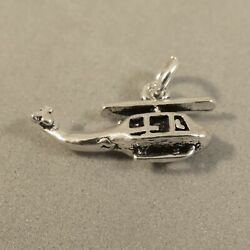 .925 Sterling Silver 3 D Small HELICOPTER Charm NEW Chopper Plane 925 VH37 $9.75