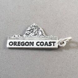 .925 Sterling Silver OREGON COAST CHARM NEW Pendant Cannon Beach Coos 925 TR114