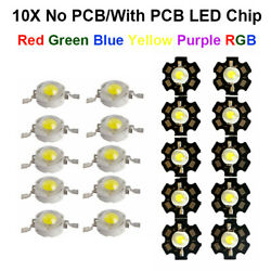 10x Wholesale LED COB Chip Diffused Beads 3W DIY With PCB High Power Bright Bulb