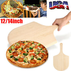 12'' 14'' Wooden Pizza Peel Paddle  Cutting Board Serving Tray Oven Baking Tool