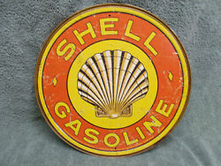 Shell Gasoline Gas Oil Round Tin Metal Sign NEW Advertising $19.49