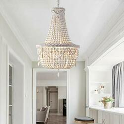 Chandelier Pendant Lights Ceiling Lamp Fixtures Antique White Wood Beaded Basket $329.99