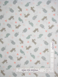 Animals Hedgehog Bunny Rabbit Turtle Soft White Baby Cotton Fabric By The Yard