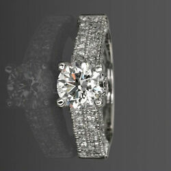 COLORLESS VVS1 D 2.31 CARAT DIAMOND ROUND CUT RING 18K WHITE GOLD SIZE 4.5 - 9