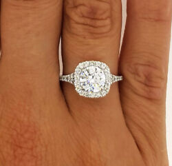 3.02 CT ROUND CUT FVS1 HALO DIAMOND SOLITAIRE ENGAGEMENT RING 14K WHITE GOLD