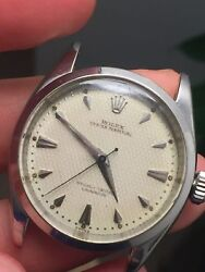 Rolex Vintage Stainless Steel 6284 Waffle Dial Semi Bubble Back Watch 1955