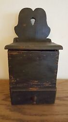 Antique Primitive 19th Century Wall Box Candle Box Salt Box In Old Green Paint