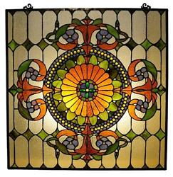 Stained Glass Chloe Lighting Victorian Window Panel 25 X 25quot; Handcrafted New $163.60