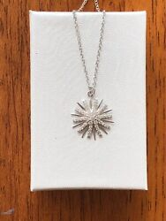 Sterling Silver 925 Cz Sun Starburst Pendant Necklace 15mm $22.40