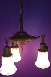 Original Brass Patina Three Light Fixture With Shades Wired Antique Light 38D $400.00