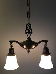 "29"" Long 16"" Wide Brass Antique Light Fixture Newly Wired Milk White 39B $500.00"