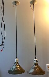 42quot; Wired Pair Industrial Pendant Lights Antique Shades Porcelain Sockets 31C $540.00