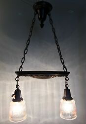 "29"" Long 14"" Wide Brass Antique Light Fixture Newly Wired Antique Shades 19C $650.00"