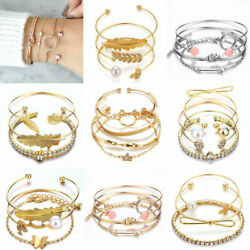 New Fashion Women's Jewelry Bracelets Chain Cuff Bangle Lady Charm Bracelet Set