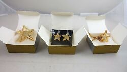 Avon Starring Earrings Necklace & Pin Goldtone Set Exclusive Rep Only RARE NIB