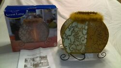 Purse shaped Table Lamp Beaded Handle amp; Faux Fur Accents $35.20
