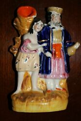 Antique Staffordshire Spill Vase Flat Back Man & Woman Pearlware Marked!
