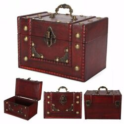8x5x5.5'' Vintage Large Wooden Jewellery Treasure Box Chest Case Lock Handle