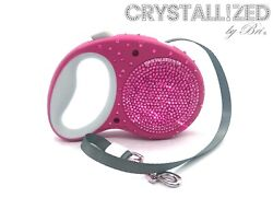 Bling CRYSTALLIZED Dog Retractable Leash Made with Swarovski Crystals Any Color