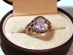 UK Hallmarked 9c Y Gold 375 Oval Amethyst sz 5.5 Solitaire Ring 10h 25