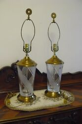 Beautiful pair of crystal lamps by GALENA 24% lead crystal Brass base Vintage $124.99