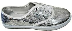 W-1412 Women's Sequins Sparkle Lace Up Flat Comfy Wedding Party Sneakers Silver