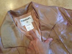 CHANEL RUNWAY CC LINED IRIDESCENT SILK&LINEN QUILTED ELEGANT PARTY JACKET 36 $3k