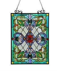Stained Glass Chloe Lighting Victorian Window Panel 18 X 25quot; Handcrafted New $147.36