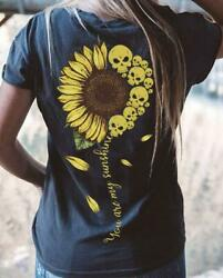Sunflower Skull You Are My Sunshine Ladies T-Shirt Black Cotton S-3XL