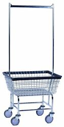 COMMERCIAL WIRE LAUNDRY BASKET CART with DOUBLE POLE. NEW