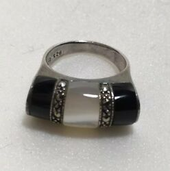 Sterling Silver Ring Marcasites Black Onyx Mother Of Pearl Size 7 Signed .925 SU