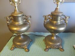 BRASS ANTIQUE EARLY 1900#x27;S PARSONS CALDWELL PAIR TABLE LAMPS lamp $199.99