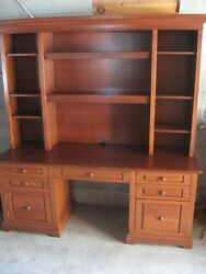 DESK + HUTCH Computer Home Office Table Cherry Wood Handcrafted by IMPSON of NY  $500.00
