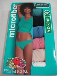 Fruit of the Loom Women's 6 Pack Microfiber Bikinis Size 7 NEW LG Choose Colors $11.49