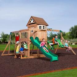 Cedar Wooden Swing Set Outdoor Backyard Kids Playset Playground Swingset Play $1,494.99