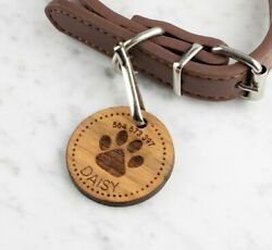 Personalised Engraved Wooden Pet ID Collar Tags Cat Dog 35mm Paw Print GBP 3.99