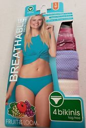 Fruit of the Loom Women's 4 Pk Breathable Micro Mesh Bikinis Size 6 Choose Color $12.49