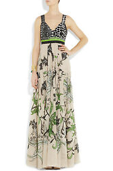 ROBERTO CAVALLI Printed Cotton Tiered Gown IT 48 US 12 $3200 NWOT's