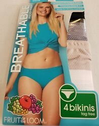 Fruit of the Loom Women's 4 Pk Breathable Micro Mesh Bikinis Size 8 Choose Color $12.49