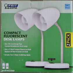 2 New FEIT Electric Compact Fluorescent Desk Lamps $49.99