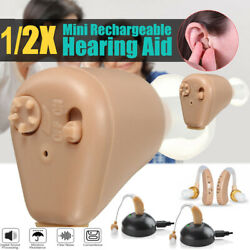 1  2Pack Rechargeable Digital Mini In Ear Hearing Aid Adjustable Tone Amplifier