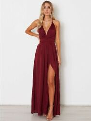 Maroon Maxi Dress with slit and plunging neck line. Size 4. $160.00